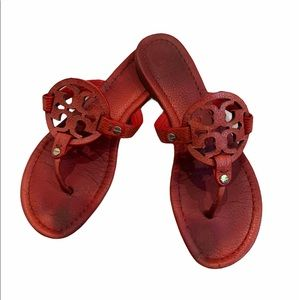 Tory Burch Miller Red Leather Thong Sandals